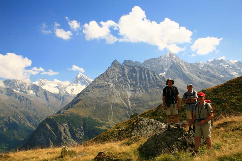 Walking to Les Hauderes with views up to the Dent Blanche.