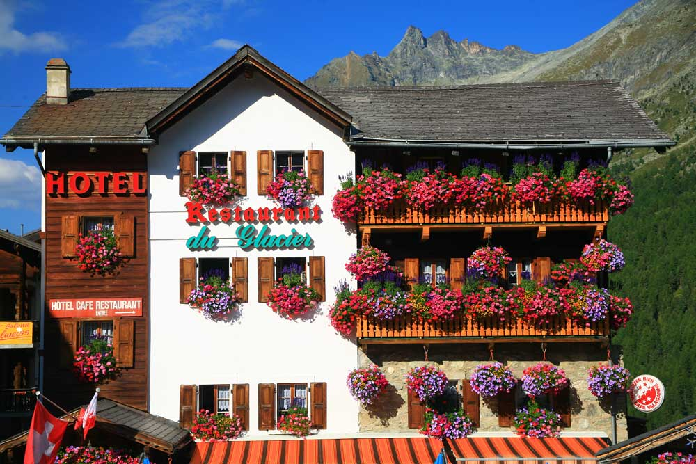 Hotel du Glacier - Our first hotel in Arolla on the Haute Route walking Holiday.
