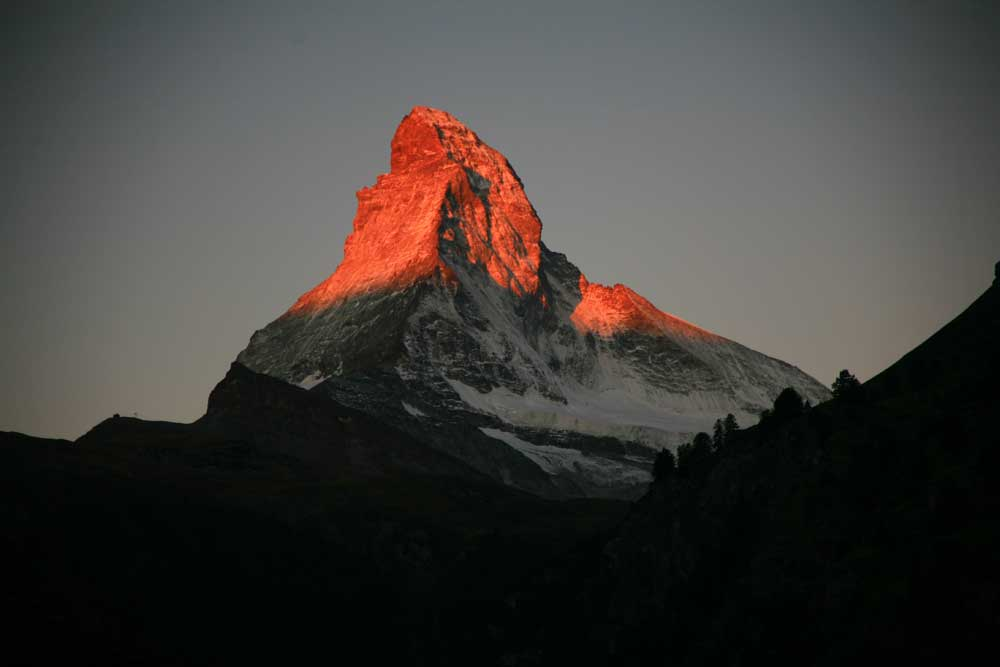 Alpenglow on the Matterhorn.