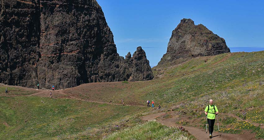 Active locals hiking in Madeira